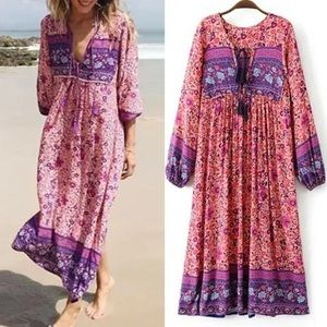 Folk Town Maxi DRESS  Blossom Floral NEW Pink